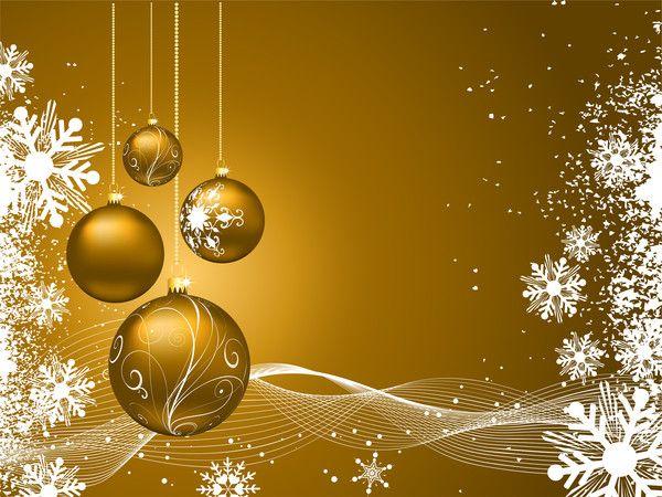 Fond d'écran BOules de Noël et flocons de neige