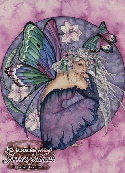 elfe avec un papillon et des fleurs