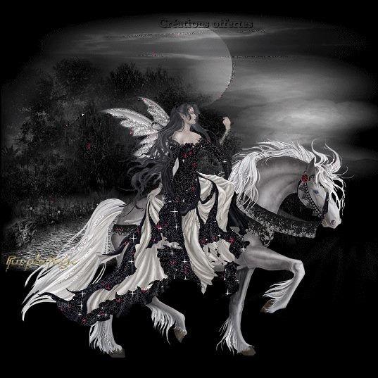 fée sur un cheval