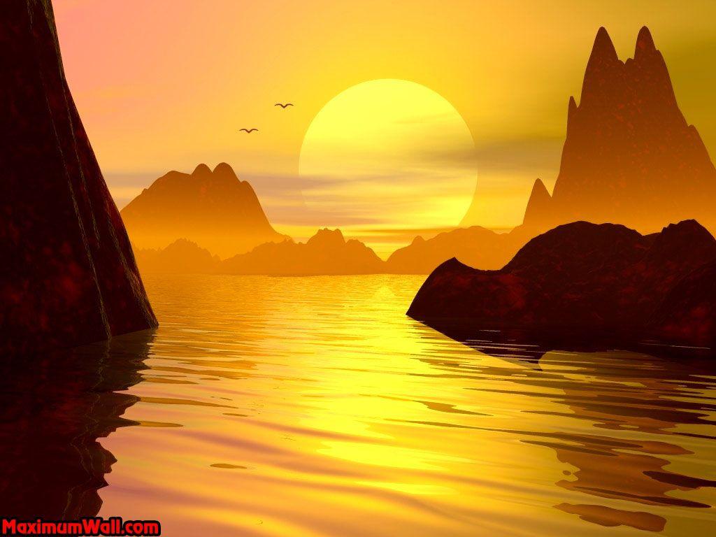 Coucher de soleil 3d - Coucher de soleil dessin ...